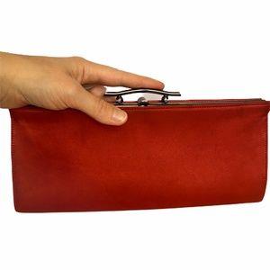 Rodo Italian Red Satin Gunmetal Clutch Evening Bag